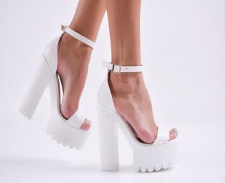 Дамски елегантни сандали еко кожа бели QXCW-27804