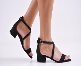 Дамски елегантни сандали набук черни FOWV-27813