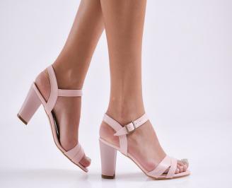 Дамски елегантни сандали еко кожа розови MYLO-27829