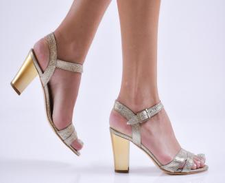 Дамски елегантни сандали еко кожа златисти PSKM-27830