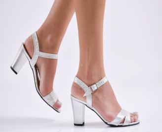 Дамски елегантни сандали еко кожа сребристи WISC-27831