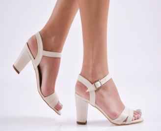 Дамски елегантни сандали еко кожа бежови YIXM-27832