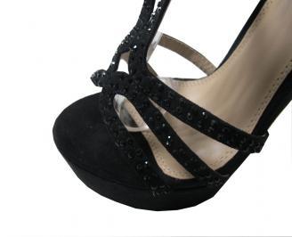 Дамски елегантни сандали еко велур черни HAKG-16055