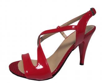 Дамски елегантни сандали на ток еко кожа/лак червени MQNF-19688