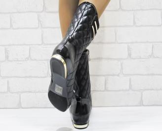 Дамски ежедневни боти  черни от еко кожа DKPT-22076