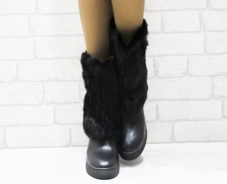 Дамски ежедневни боти  черни от еко кожа с естествен пух HVDX-22242