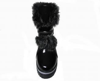 Дамски ежедневни боти черни от еко кожа с пух ZYWH-22575