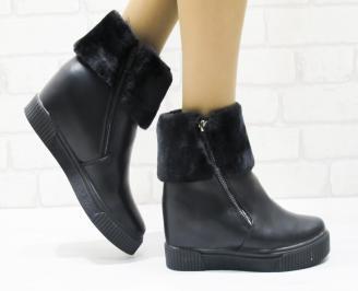Дамски ежедневни  боти черни  еко кожа ECJI-22594