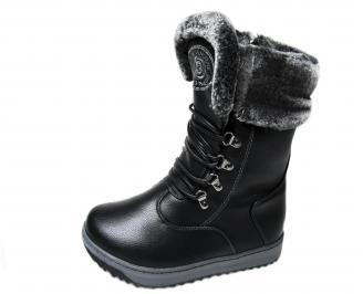 Дамски ежедневни боти черни от еко кожа ESNK-22750