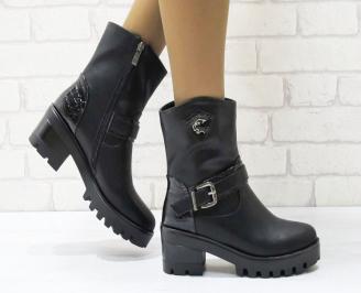 Дамски ежедневни боти  черни  от еко кожа OKIB-24963