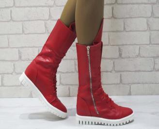 Дамски ежедневни боти червени от еко кожа AGAF-25068