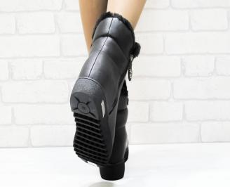 Дамски ежедневни боти  черни еко кожа HLIK-25341