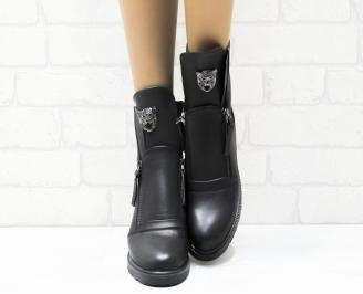 Дамски ежедневни боти  черни еко кожа OIYK-25345