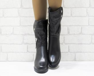 Дамски ежедневни боти черни еко кожа NVGS-25556