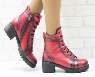 Дамски ежедневни боти червени еко кожа EVBE-25558