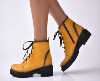 Дамски ежедневни  боти  естествена кожа жълти  YUXL-1016078