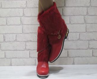 Дамски ежедневни боти еко кожа  червени с естествен пух YHJA-22133