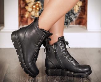 Дамски ежедневни боти еко кожа черни REBG-22725