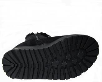 Дамски ежедневни боти  еко велур и пух черни NOFR-22768
