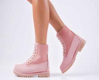 Дамски ежедневни боти  от еко кожа  розови CFZL-1010213