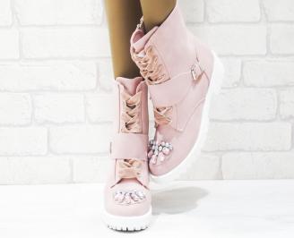 Дамски ежедневни боти  розови еко велур RBZQ-25274