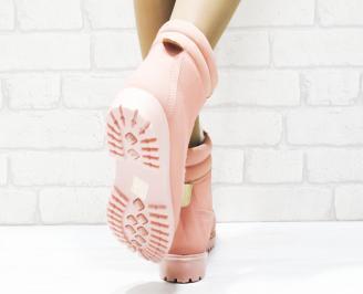 Дамски ежедневни боти розови еко кожа LVGN-25349