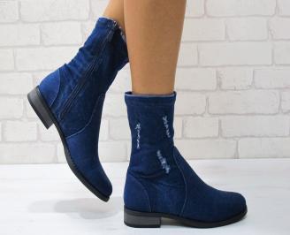 Дамски ежедневни боти  сини от текстил KJMM-24863