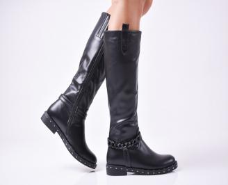 Дамски ежедневни ботуши черни от еко кожа ZANP-1010110