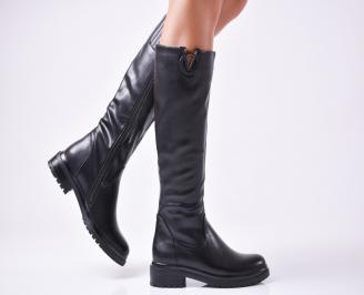 Дамски ежедневни ботуши черни от еко кожа JQGH-1010118