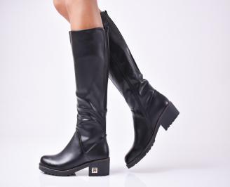 Дамски ежедневни ботуши черни от еко кожа FAYZ-1010119