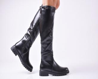 Дамски ежедневни ботуши черни от еко кожа VZHS-1010121