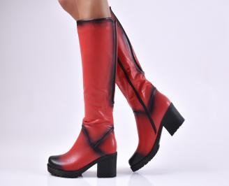 Дамски ежедневни ботуши червени от еко кожа DBWD-1010206