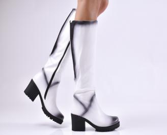 Дамски ежедневни ботуши бели от еко кожа FFQY-1010208