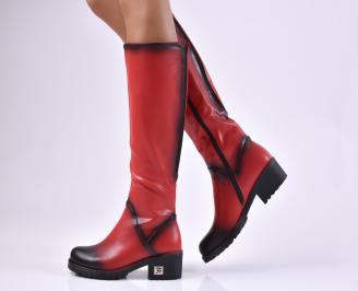 Дамски ежедневни ботуши червени от еко кожа SCCV-1010209