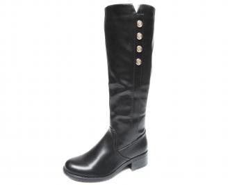 Дамски ежедневни ботуши еко кожа черни HROU-20759