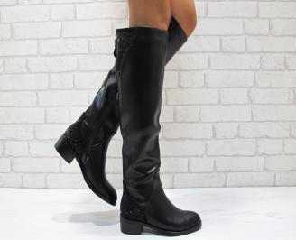 Дамски ежедневни ботуши черни еко кожа MXFR-21932