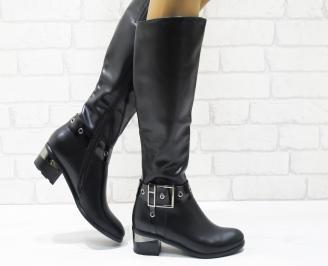 Дамски ежедневни ботуши черни от еко кожа DGTU-22364