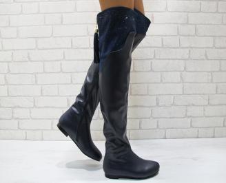 Дамски ежедневни ботуши еко кожа  тъмно сини ZANM-24843