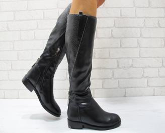 Дамски ежедневни ботуши еко кожа черни LEJM-24848