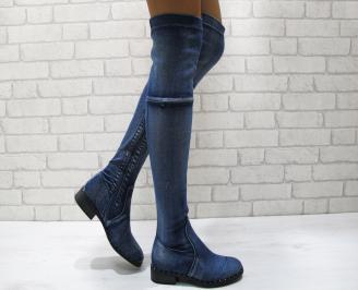 Дамски ежедневни ботуши   сини от текстил OTQF-24862