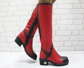 Дамски ежедневни ботуши еко кожа червени WEVI-24902