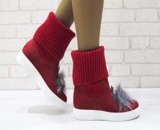 Дамски ежедневни ботуши еко велур/текстил червени FHCO-24904