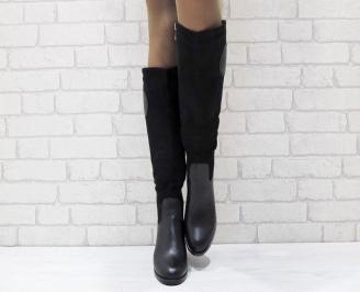 Дамски ежедневни ботуши  черни от еко кожа и велур PYHO-24923