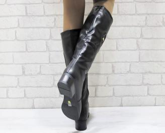 Дамски ежедневни ботуши черни от еко кожа VUSZ-24929