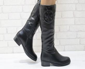 Дамски ежедневни ботуши черни от еко кожа CLFJ-24930