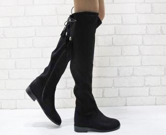 Дамски ежедневни ботуши черни от еко велур UVQO-24954
