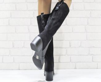 Дамски ежедневни ботуши черни от еко кожа/велур FFXH-24957