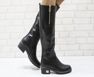 Дамски ежедневни ботуши черни от еко кожа YCQU-24959
