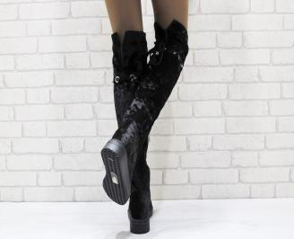 Дамски ежедневни ботуши тип чизми черни кадифе QPYN-24961