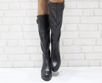 Дамски ежедневни ботуши черни от еко кожа KBQY-24972